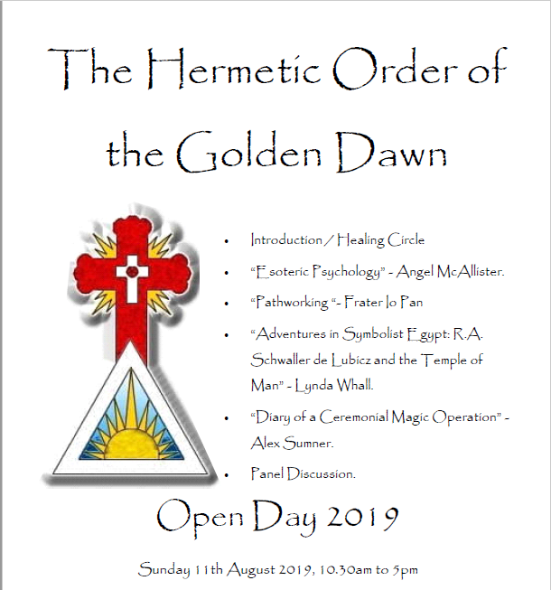 Information about the Golden Dawn Open Day on Sunday 11th August 2019